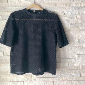 LOFT | open weave short sleeve lace top S